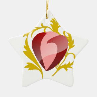 Ornamento De Cerâmica coração da morango