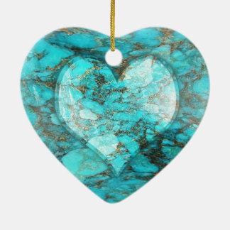 Ornamento De Cerâmica Coração da rocha de turquesa