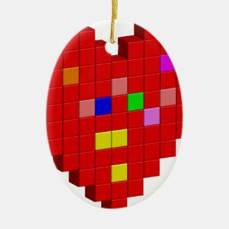 Ornamento De Cerâmica coração de 8 bits