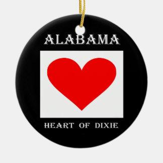 Ornamento De Cerâmica Coração de Alabama de Dixie