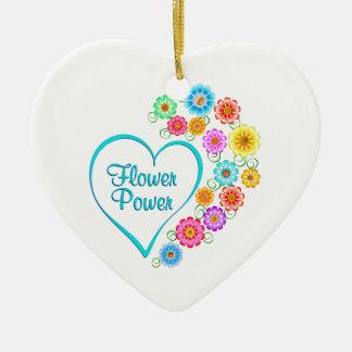 Ornamento De Cerâmica Coração de flower power