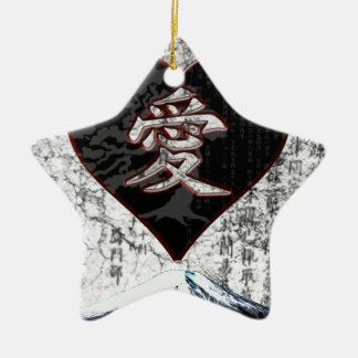 Ornamento De Cerâmica Coração de Fuji - amor do Kanji - preto & vermelho