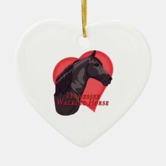 Ornamento De Cerâmica Coração de passeio preto do cavalo de Tennessee