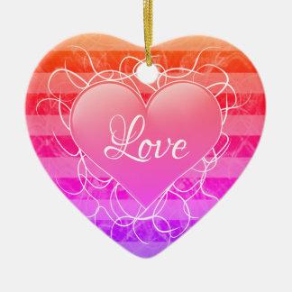 Ornamento De Cerâmica Coração do amor do inclinação