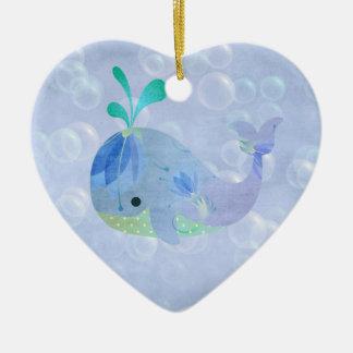 Ornamento De Cerâmica Coração do anúncio do nascimento do bebé dos