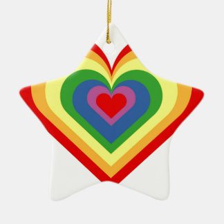 Ornamento De Cerâmica Coração do arco-íris