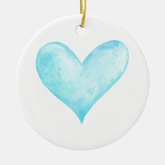 Ornamento De Cerâmica Coração do azul da aguarela