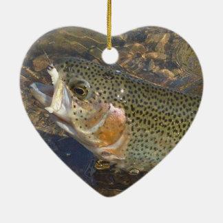 Ornamento De Cerâmica Coração do dia dos namorados da pesca da truta