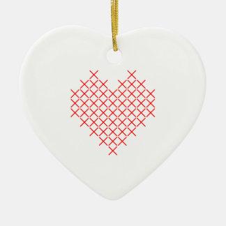 Ornamento De Cerâmica Coração do ponto da cruz vermelha