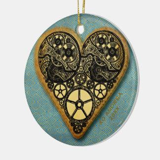 Ornamento De Cerâmica Coração do vintage de Steampunk da engrenagem do