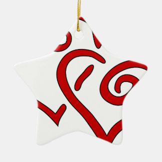 Ornamento De Cerâmica Coração dobro vermelho