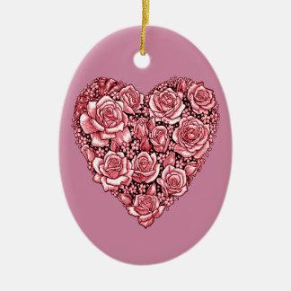 Ornamento De Cerâmica Coração dos rosas