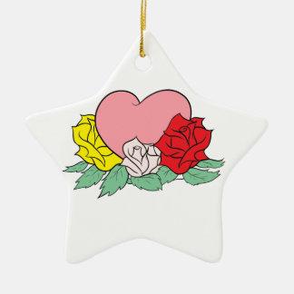 Ornamento De Cerâmica Coração e rosas