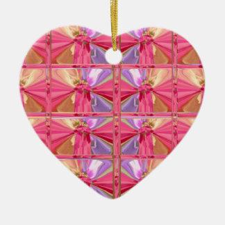 Ornamento De Cerâmica Coração feliz do sorriso elegante do rosa do teste
