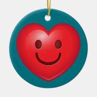 Ornamento De Cerâmica Coração feliz Emoji