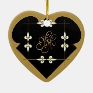 Ornamento De Cerâmica Coração festivo do monograma do art deco do