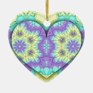 Ornamento De Cerâmica Coração festivo vibrante do Pastel 3d dado forma