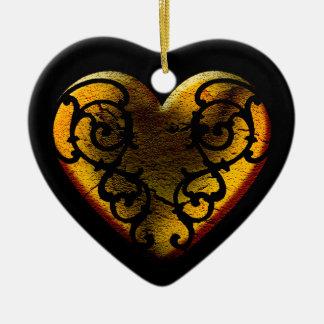 Ornamento De Cerâmica Coração filigrana do ouro do gótico
