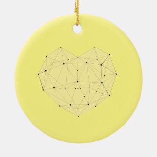 Ornamento De Cerâmica Coração geométrico