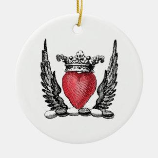Ornamento De Cerâmica Coração heráldico com crista da brasão das asas