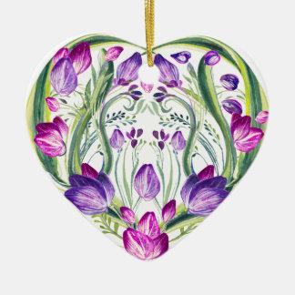 Ornamento De Cerâmica Coração nas flores
