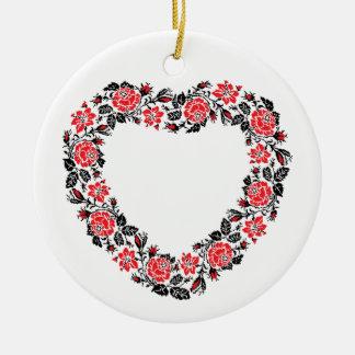 Ornamento De Cerâmica Coração original de flores da rosa vermelha do