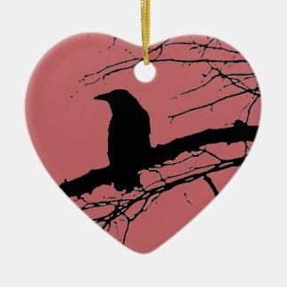 Ornamento De Cerâmica Coração rachado do corvo