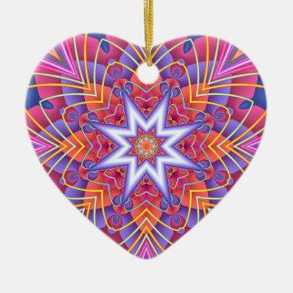 Ornamento De Cerâmica Coração silenciado dos Pastels do caleidoscópio do