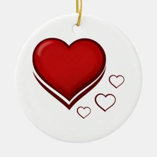 Ornamento De Cerâmica Coração vermelho