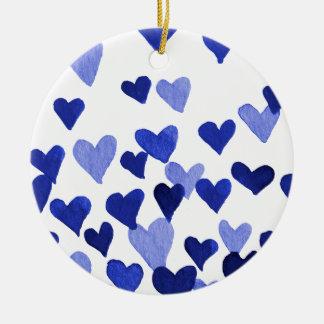 Ornamento De Cerâmica Corações da aguarela do dia dos namorados - azul