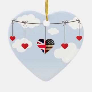 Ornamento De Cerâmica Corações da bandeira britânica e americana do