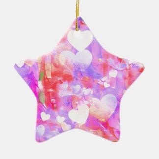 Ornamento De Cerâmica Corações da cor de água
