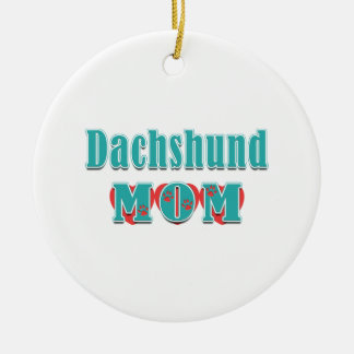 Ornamento De Cerâmica Corações da mamã do Dachshund
