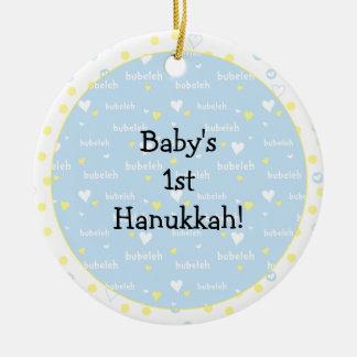 Ornamento De Cerâmica Corações de /Blue/Yel de Hanukkah