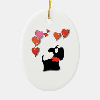 Ornamento De Cerâmica Corações do amor do cão do Scottie