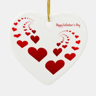Ornamento De Cerâmica Corações do feliz dia dos namorados