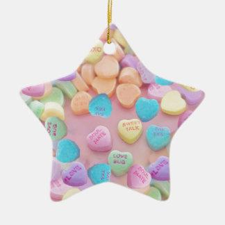 Ornamento De Cerâmica corações dos doces dos namorados