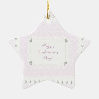 Ornamento De Cerâmica Corações e laço dos namorados, rosa Pastel e