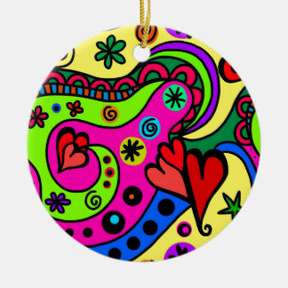 Ornamento De Cerâmica corações psicadélicos #3