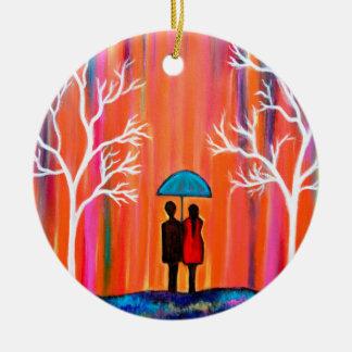 Ornamento De Cerâmica Cores do giftart romântico colorido da pintura do