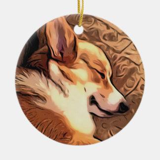 Ornamento De Cerâmica Corgi sonolento de Galês