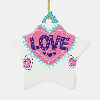 Ornamento De Cerâmica Coroa e corações do amor