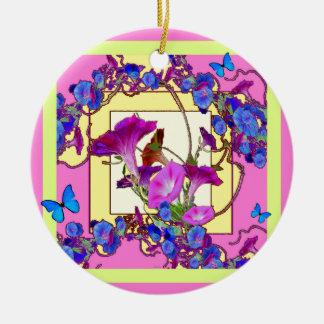 Ornamento De Cerâmica Corriolas cor-de-rosa do azul da arte