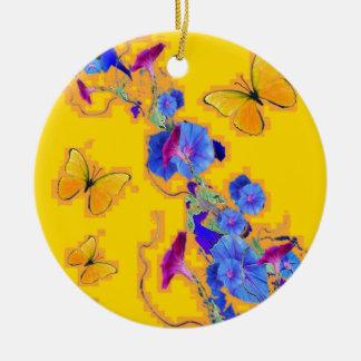 Ornamento De Cerâmica corriolas do azul das borboletas do ouro