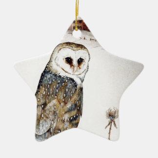 Ornamento De Cerâmica Coruja de celeiro na caça