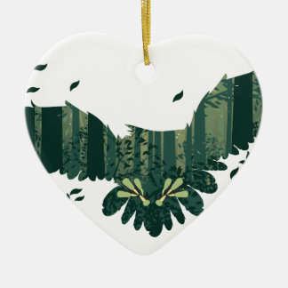 Ornamento De Cerâmica Coruja e paisagem da floresta do abstrato