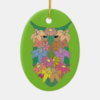 Ornamento De Cerâmica Coruja florescida