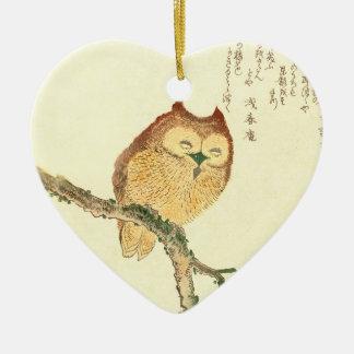 Ornamento De Cerâmica Coruja japonesa do impressão | das belas artes do