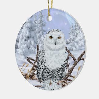 Ornamento De Cerâmica Coruja nevado na neve