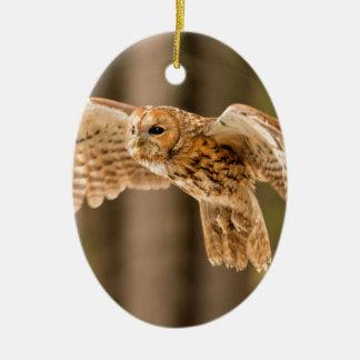 Ornamento De Cerâmica Coruja Tawny no vôo